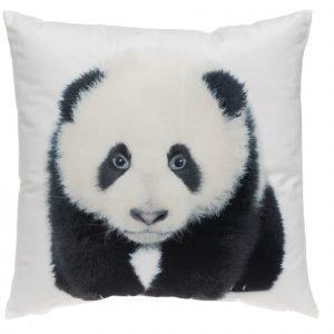 4living Panda Samettityyny Musta Valkoinen