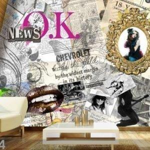 Ag Design Fleece-Kuvatapetti Collage Of Newspaper 360x270 Cm