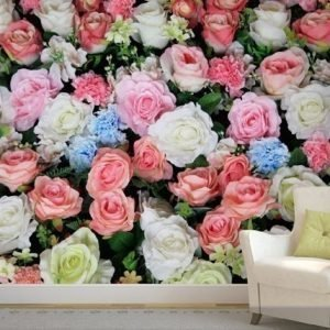 Ag Design Fleece-Kuvatapetti Colorful Flowers 360x270 Cm
