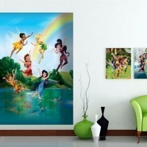 Ag Design Fleece Kuvatapetti Disney Fairies In The Rainbow 180x202 Cm