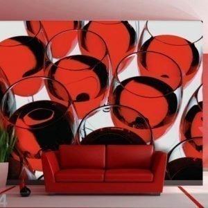 Ag Design Fleece-Kuvatapetti Glass Of Wine 360x270 Cm