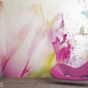 Ag Design Fleece-Kuvatapetti Light Flowers 360x270 Cm