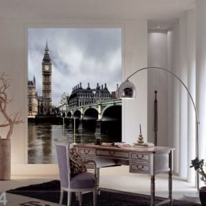 Ag Design Fleece Kuvatapetti London Big Ben 180x202 Cm