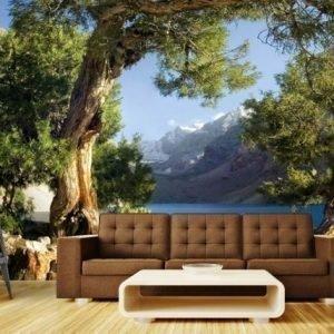 Ag Design Fleece-Kuvatapetti Mountain Lake 360x270 Cm