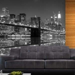 Ag Design Fleece Kuvatapetti New York In Black And White 360x270 Cm