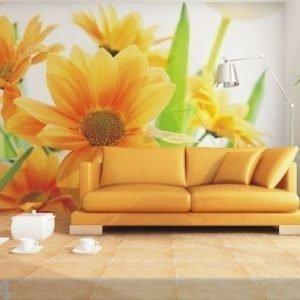 Ag Design Fleece-Kuvatapetti Orange Flowers 360x270 Cm