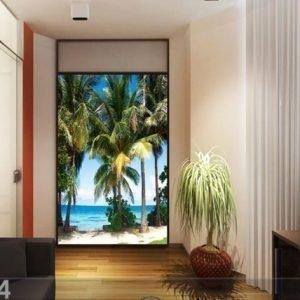 Ag Design Fleece Kuvatapetti Palm Trees On The Beach 180x202 Cm