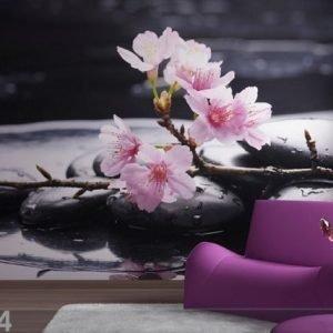 Ag Design Fleece Kuvatapetti Pink Flowers On The Stone 360x270 Cm