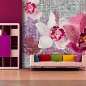Ag Design Fleece-Kuvatapetti Pink Orchids 360x270 Cm