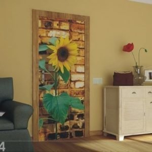 Ag Design Fleece Kuvatapetti Sunflower With Bricks 90x202 Cm
