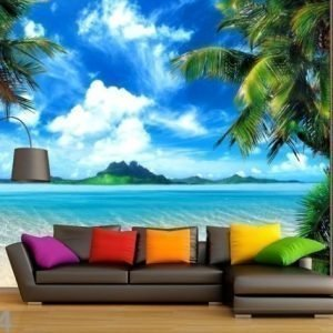 Ag Design Fleece Kuvatapetti Tropical Beach 360x270 Cm