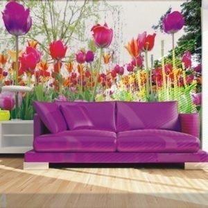 Ag Design Fleece-Kuvatapetti Tulips And Peonies 360x270 Cm