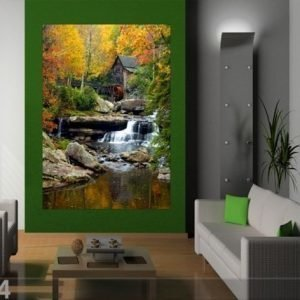 Ag Design Fleece Kuvatapetti Water Mill 180x202 Cm