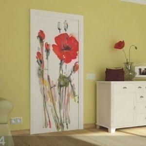 Ag Design Fleece Kuvatapetti Watercolor Poppies 90x202 Cm