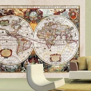 Ag Design Fleece-Kuvatapetti World Map 360x270 Cm