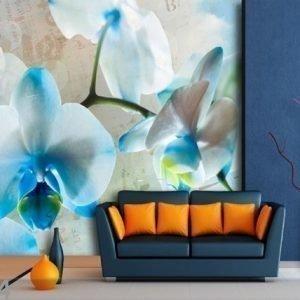 Ag Design Fleece-Kuvatapettii Blue Flowers 360x270 Cm