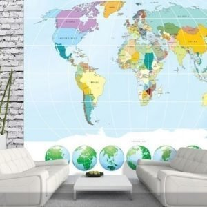 Ag Design Fleece-Kuvatapettiworld Map 360x270 Cm