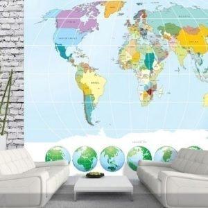 Ag Design Fleece-Kuvatapettiworld Map 360x270 Cm