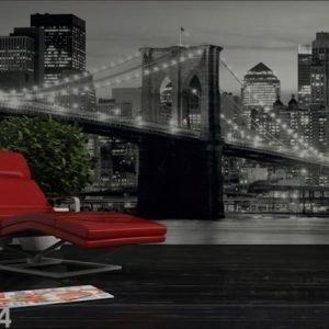 Ag Design Kuvatapetti Brooklyn Bridge Black And White 360x254 Cm