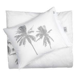 Beach House Palm Tree Pussilakana Valkoinen / Harmaa 220x220 Cm