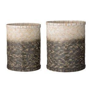 Bloomingville Bamboo Korit Setti Harmaa / Valkoinen 2 Kpl