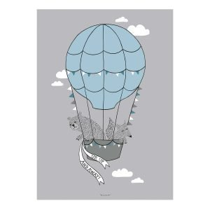 Bloomingville Hot Air Balloon Friends Juliste Harmaa 50x70 Cm