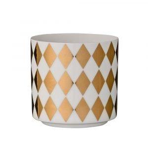 Bloomingville Porcelain Kynttilälyhty Kulta / Valkoinen 6