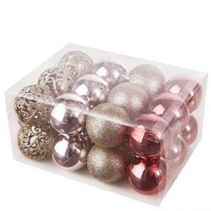 Boltze Joulupallo 24-Pakkaus Roosa / Hopeanvärinen