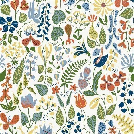 Boråstapeter Herbarium Tapetti Valkoinen