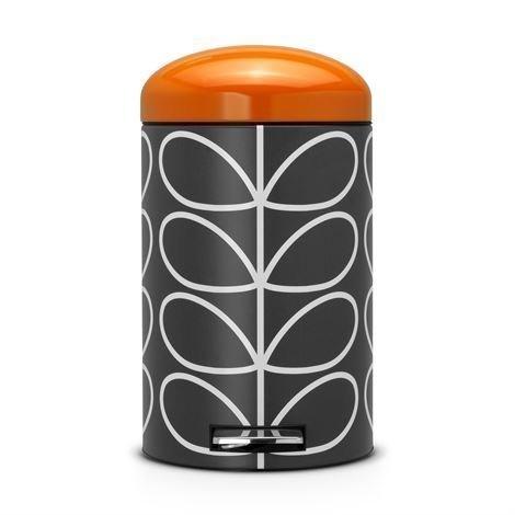 Brabantia Retro Orla Kiely Poljinroskis Silent 12 Litraa Musta Oranssi Kansi