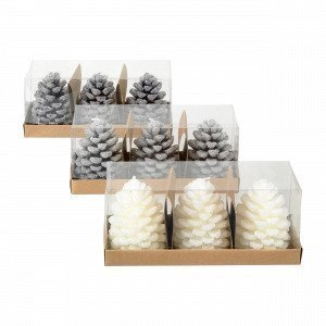 Broste Copenhagen Cone 3pcs Candles Kynttilä Harmaa 6x6 Cm