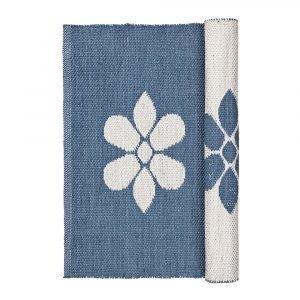 Broste Copenhagen Flower Matto Flintstone Blue / Norsunluu 70x140 Cm