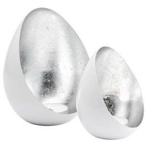 Cellbes Kynttiläpidike Valkoinen Hopeanvärinen