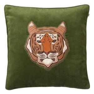 Chhatwal & Jonsson Embroid. Tiger Tyynynpäällinen Cactus Green 50x50 Cm