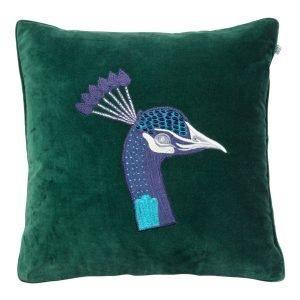 Chhatwal & Jonsson Embroidered Peacock Velvet Tyynynpäällinen M Vihreä