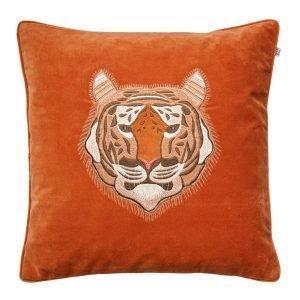 Chhatwal & Jonsson Embroidered Tiger Velvet Tyynynpäällinen M Oranssi