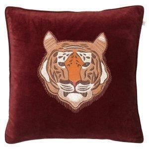 Chhatwal & Jonsson Embroidered Tiger Velvet Tyynynpäällinen M Ruby