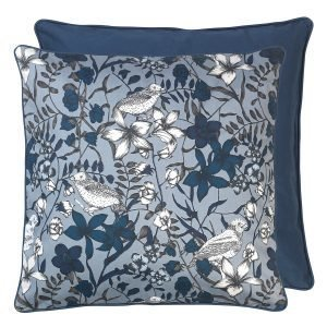 Cozy Living Cotton Floral Bird Kudde Tyyny Blue Wing 50x50 Cm