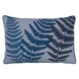 Cozy Living Embroidered Fern Leaf Bead Tyyny Blue Wing 40x60 Cm