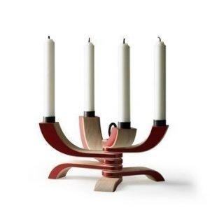 Design House Stockholm Nordic Light nelihaarainen kynttilänjalka punainen