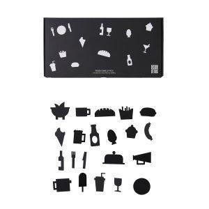Design Letters Food Icons Ikoni Ilmoitustauluun Musta 21-Osainen