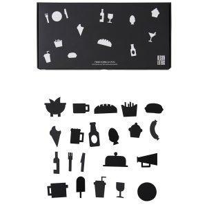 Design Letters Muistitaulun Ruokakuviot Musta