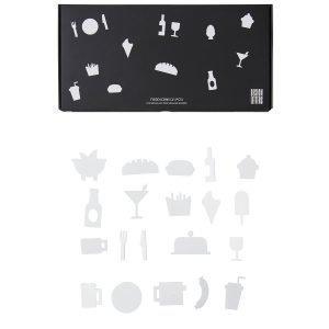 Design Letters Muistitaulun Ruokakuviot Valkoinen