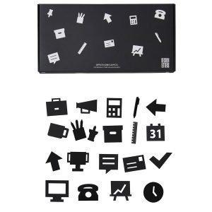 Design Letters Muistitaulun Toimistokuviot Musta