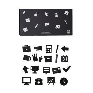 Design Letters Office Icons Ikoni Ilmoitustauluun Musta 20-Osainen