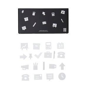 Design Letters Office Icons Ikoni Ilmoitustauluun Valkoinen 20-Osainen
