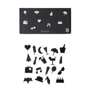 Design Letters Party Icons Ikoni Ilmoitustauluun Musta 20-Osainen