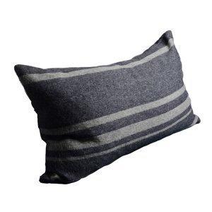 Dirty Linen Strip Tyynynpäällinen Grey / Navy 50x90 Cm