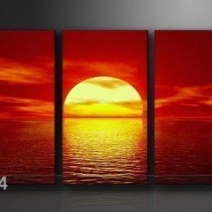 Ed Kolmeosainen Seinätaulu Auringon Lasku