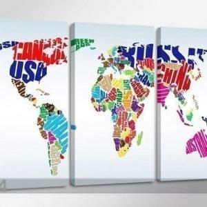 Ed Kolmeosainen Seinätaulu Worldmap